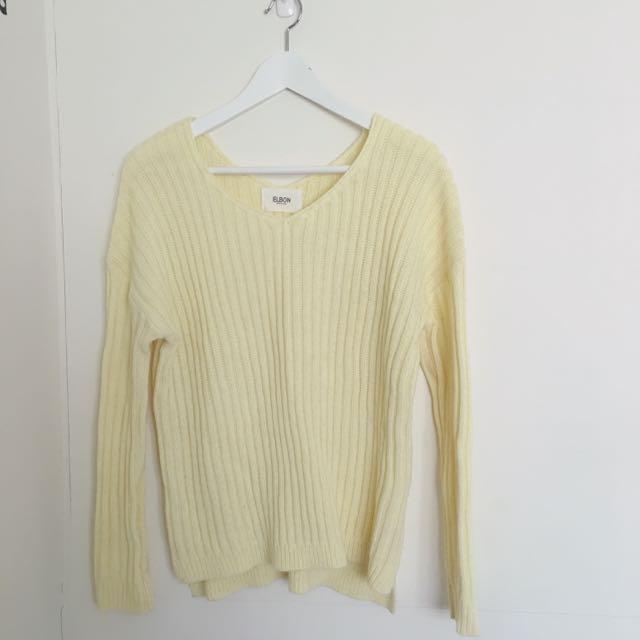 黃色毛衣前V後V(含運)