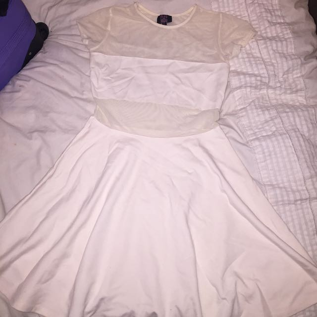 White, Meshed, Dress Size 12