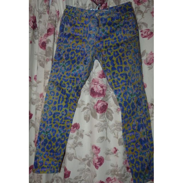 Witchery animal print denim pants size 11 euc