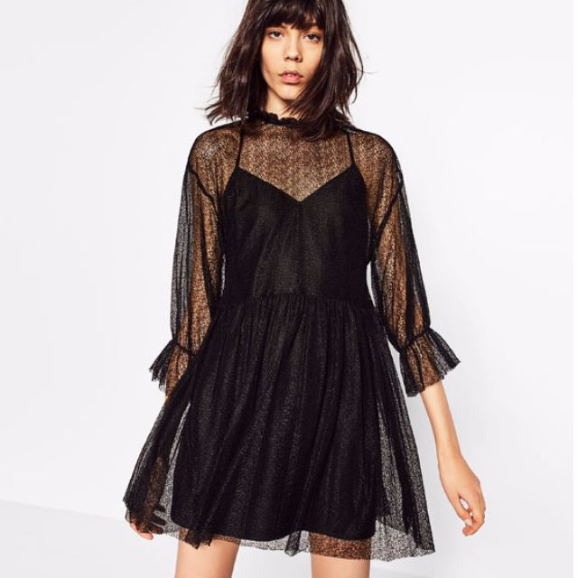 5e2fdc241b6ee Zara Black Lace Dress - Sheer, Women's Fashion, Clothes, Dresses & Skirts  on Carousell