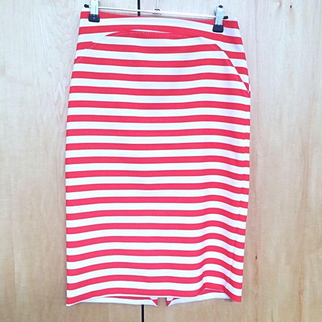 ZARA Striped Pencil Skirt Size XS