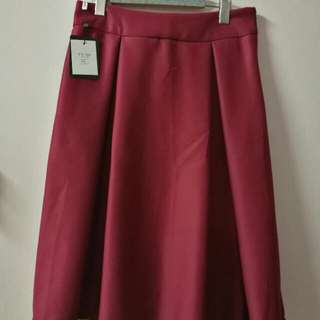 New Wine Red Midi Skirt XL