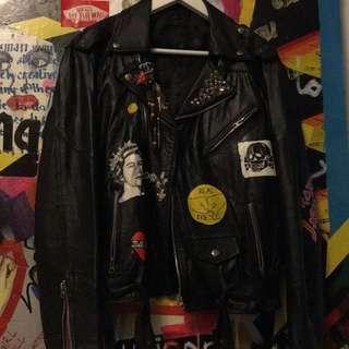Handpainted Biker Leather Jacket