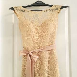 Morilee Spectacular Long Beaded Lace Bridesmaid Dress