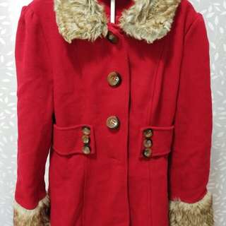 Red Faux Fur Trim Coat - Glassons