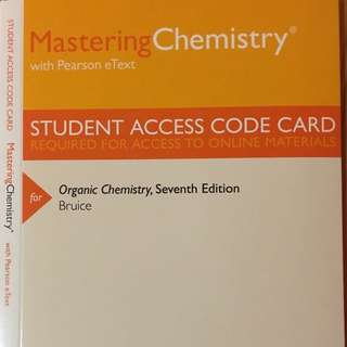 Student Access Code Card for the Organic Chemistry Textbook