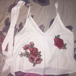 White + Red Rose Top