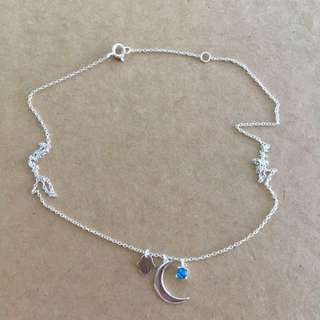 Stainless Steel Moon, Hand And Gem Necklace