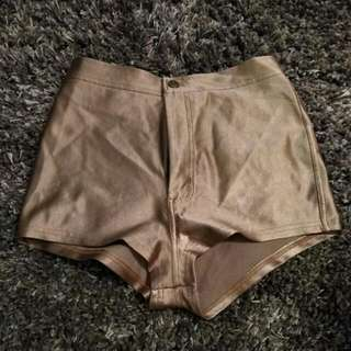 American Apparel gold spandex shorts