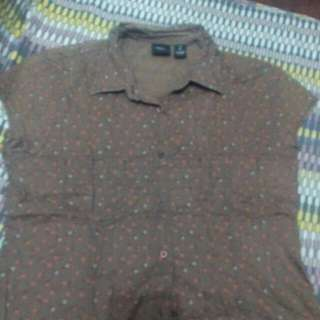 Black Tiny Floral Brown Shirt S-M