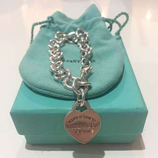 Authentic Tiffany & Co. Heart Chain Bracelet 925