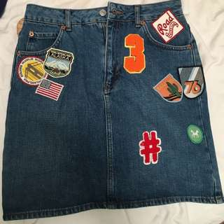Denim Skirt With Vintage Patches