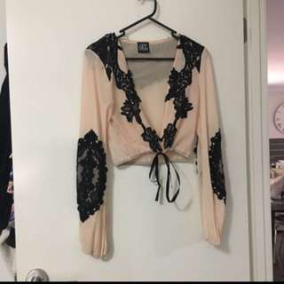 Pink And Black See Through Top
