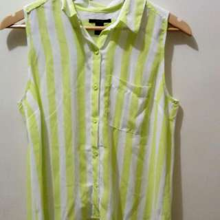 Forever 21 Yellow And White Stripes