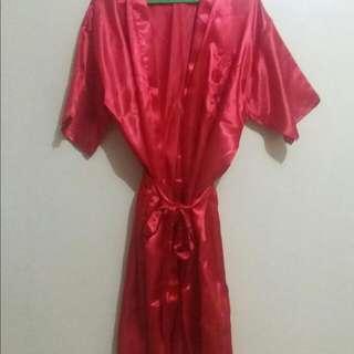 Red Silk Bathrobe
