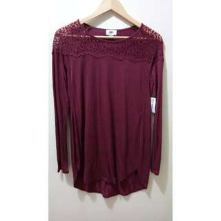Old Navy Maroon Lace Top