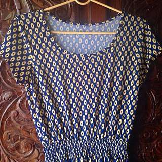 Navy Blue Dress (Silk/Polyester)