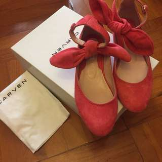 CARVEN Suede Flat With Bow Sz 35 (EU Size)