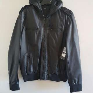 Yd Mens Leather Hooded Jacket Size L