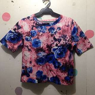 Floral Boxy Shirt Top Blouse