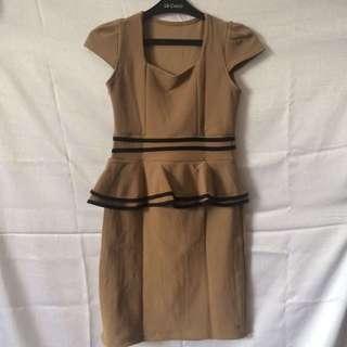 Brown Peplum Dress
