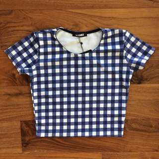 Missguided Blue Gingham Checkered Crop Top