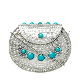 Miss Shop Metal Turquoise Clutch Bag Postage Only $8