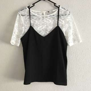 TEMT Lace Top And Black Singlet