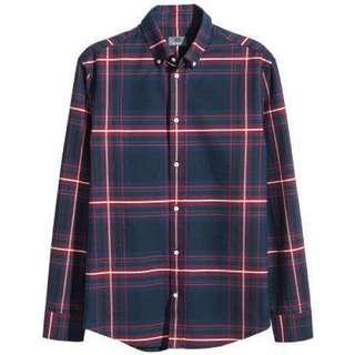 H&M Men's Blue Plaid Shirt