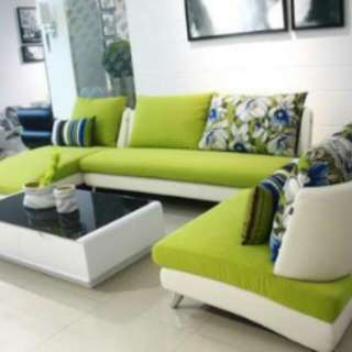Sofa L New Safina Hijau-cream Minimalis+8 Bantal.