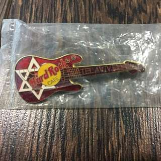 Rare Hard Rock Tel Aviv Star Of David Red Strat Guitar Pin