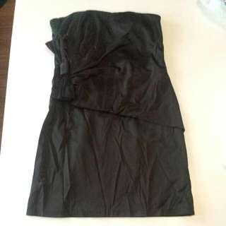 Size 10 SEXY BLACK SILK STRAPPLES DRESS NEW