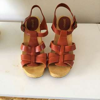 Gorman Wooden Leather Shoes Sz 38/7.5
