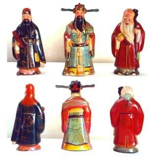 Pre Wenge Fu Lu Shou Soft Clay Sculptures 福祿壽三星泥人 1950s