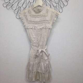 Forever New Cream Silk Dress