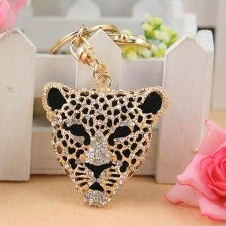 Crystal Golden Color  Leopard Animal Key Chain