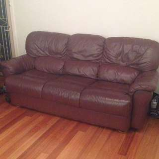 3 Piece Burgundy Leather Couch Set