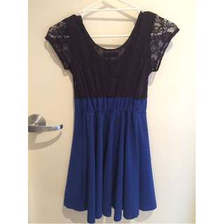 Summer Dress Black Blue Lace Capped Sleeves Will fit size 6-8