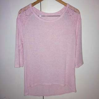 Pink Jumper with Lace Shoulders