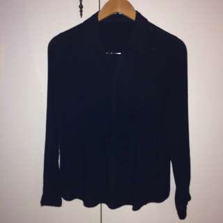 Black Button Up Top with Adjustable Sleeves