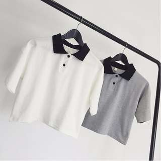 [PO] Short Sleeve Colourblock Botton Polo Collar Blouse Top