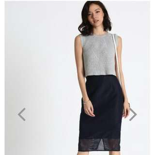 Bnwt Love Bonito Malitz Mesh Pencil Skirt In Navy (Size Xs)