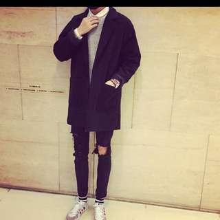 韓國首爾GD款 型男個性釋放 毛呢加厚加棉開衫外套 百搭中長版 長大衣外套