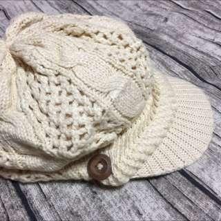 高質感針織毛線編織米白貝蕾帽