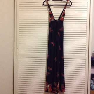 Plunge V neck maxi dress with butterflies