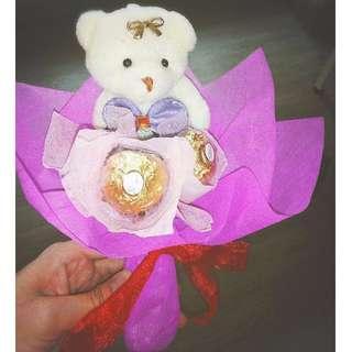 Cute Teddy Bear Plushie Ferrero Rocher Rose Bouquet Flower for Gift