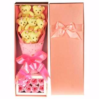 Cute Teddy Bear Plushie Pink Rose Bouquet in Box Flower for Gifts ( 7 pcs of Teddy Bear Plushies )