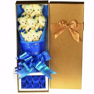 Cute Teddy Bear Plushie Blue Rose Bouquet in Box Flower for Gifts ( 7 pcs of Teddy Bear Plushies )