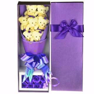 Cute Teddy Bear Plushie Purple Rose Bouquet in Box Flower for Gifts ( 7 pcs of Teddy Bear Plushies )