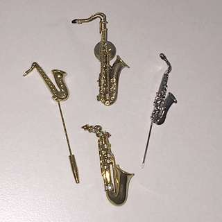 Vintage 80s/90s Saxophone Brooches/Pins
